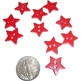 10 Vintage Bakelite Realistic Figural Red Star Buttons New Old Stock