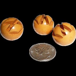 3 Bakelite Art Deco Geometric Carved Ball Buttons
