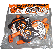 Vintage 3 Halloween Party Noisemakers Novelty Blowouts MIP Cat Witch Scarecrow