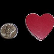 "Vintage Bakelite Red Heart Part / Piece / Slice 1 1/4"" square"