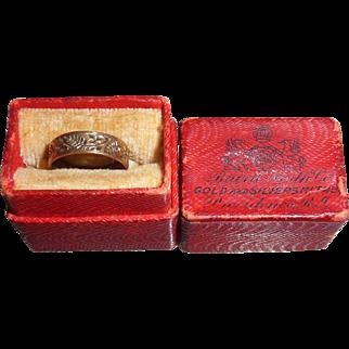 Antique Victorian 10K Gold Ornate Design Infant Baby Ring Original Box