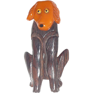 Fabulous Bakelite and Wood Carved Dog with Pivoting Head Pin Brooch