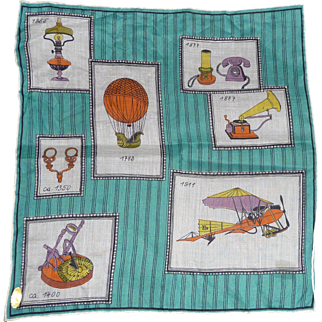 Vintage Inventions Picture Hanky Handkerchief Mint w Tag