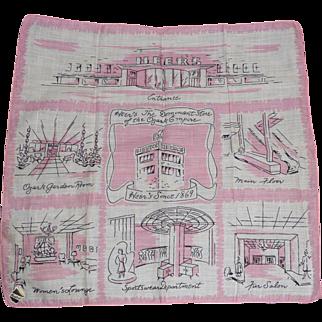 Vintage Heers Department Store Picture Hanky Handkerchief Mint w Tag
