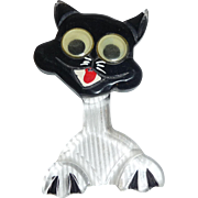 Vintage Googley Eyed Reverse Carved Black Clear Lucite Kitty Cat Pin Brooch Halloween