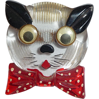 1940's Vintage Googley Eyes Cat Face Reverse Carved Painted Lucite Pin Brooch