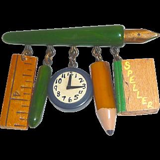 Rare Martha Sleeper Bakelite Teacher / School Fountain Pen with Charms Pin Brooch