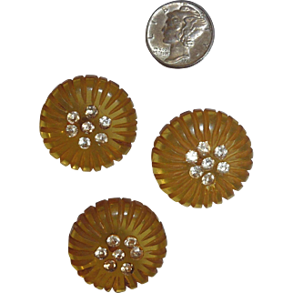 3 Matching Bakelite Carved Chunky Apple Juice Buttons with Rhinestone Centers
