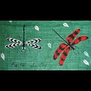 Vintage Hanky Handkerchief DragonFlies Bugs Signed Faith Austin