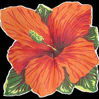 Vintage Hanky Handkerchief Gorgeous Large Hawaiian Hibiscus Flower