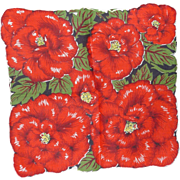 Vintage Hanky Handkerchief 6 Gorgeous Large Red Flowers
