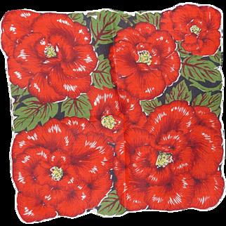 Vintage Hanky Handkerchief 6 Gorgeous Large Red Flowers