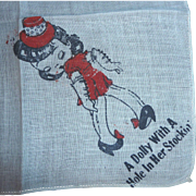 RaRe Vintage DOLLY with a Hole in her Stocking Children's Hanky Handkerchief