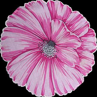 Gorgeous ROUND Hanky Handkerchief Hankie Large Pink Full Flower