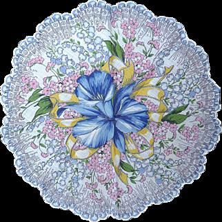 ROUND Hanky Hankie Handkerchief Multi Color Spring Flowers Lilies Forget Me Nots