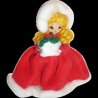 Vintage Christmas Caroler Girl Doll Ornament