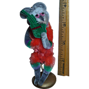 Rare Authentic Vintage Large Chenille Pipe Cleaner Christmas Mouse Ornament