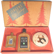 Jergens Christmas Holiday Gift Set Powder Box, Lotion, Cologne - Perfume Original Box