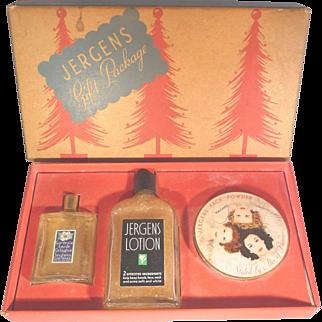 Jergens Christmas Holiday Gift Set Powder Box, Lotion, Cologne - Perfume Original Box