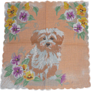 Adorable Vintage Children's Hanky Handkerchief Hankie Puppy Dog with Pansies