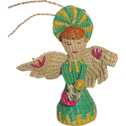 Unusual Vintage Woven Straw Angel Christmas Ornament