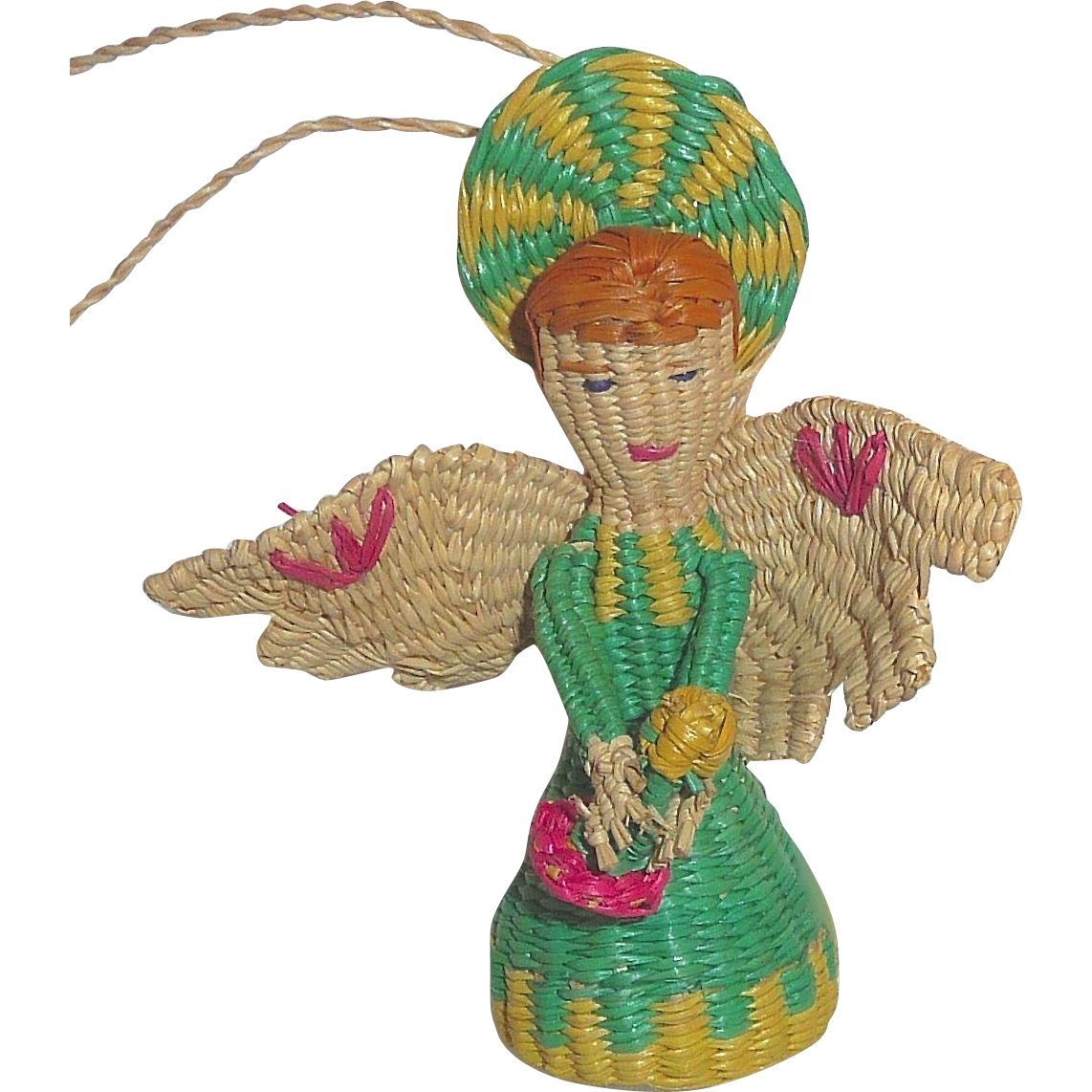 Unusual vintage woven straw angel christmas ornament from for Quirky ornaments