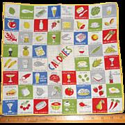 Vintage Hanky Handkerchief Hankie Calories Food