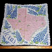 Vintage Texas State Picture Hanky Handkerchief Hankie