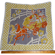 Vintage Kids on a Hayride Picture Hanky Handkerchief Hankie Artist Signed Rutherford