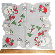 Cute Child's Hanky Handkerchief Christmas Theme Snowmen Sleigh Gifts Trees