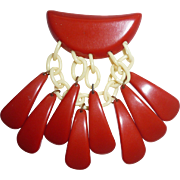 Rare Bakelite & Celluloid Red Geometric Tear Drop Dangle Pin Brooch