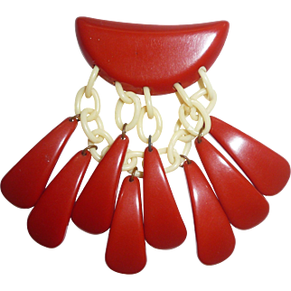 Rare Bakelite & Celluloid Red Geometric Tear Drop Dangle Pin Brooch