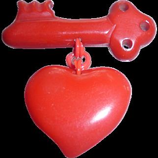 Vintage Bakelite Red Heart & Key Pin Brooch Valentines Sweetheart
