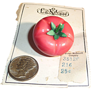 Extra Large XL Chunky Celluloid Tomato Button Figural Realistic Mint Original Card