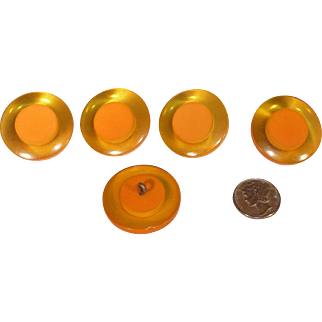 Chunky Bakelite 2 Color Cookie Buttons (set of 5) Apple Juice Butterscotch