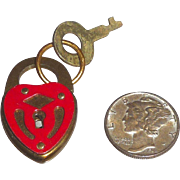 Adorable Tiny Brass & Red Heart Lock Padlock with Key Valentine's Day