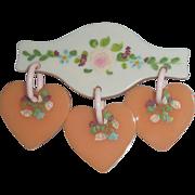 Vintage Bakelite Triple Dangle Painted Flowers on Hearts on Wood Pin Brooch Valentine's Sweetheart
