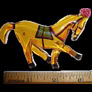 Whimsical Bakelite Apple Juice Painted Carousel Horse Pin Brooch Martha Sleeper