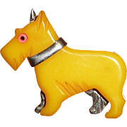 Bakelite and Metal Scotty Dog Pin Brooch