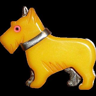 Bakelite and Metal Scotty Dog Pin Brooch