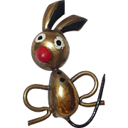 Vintage Brass Comical Bunny Rabbit Pin Brooch Foreign Made: Argentina