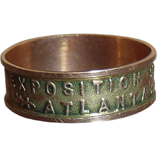 Antique Atlanta Exposition Souvenir 10K Gold Ring Dated 1895