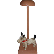 Adorable Vintage Child's Children's Wooden Wood Hat Stand Hatstand Display with Stuffed Terrier Dog