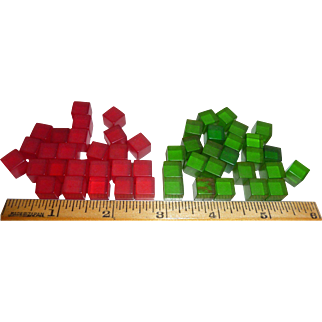 50 Prystal Bakelite Tiny Dice Cubes Undotted New Old Factory Stock 25 Red / 25 Green