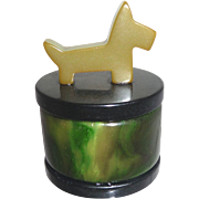 Greens & Black Bakelite Ring Jewelry Powder Vanity Trinket Box with Scotty Dog Top Finial