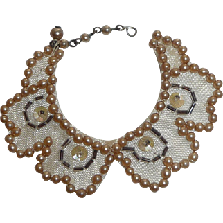 Victorian Doll Clothes Collar Pearls Beads Sequins Embellishment for Doll Costuming