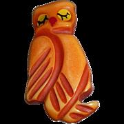 Vintage Bakelite Over Dyed Sleepy Owl Pin Brooch Martha Sleeper