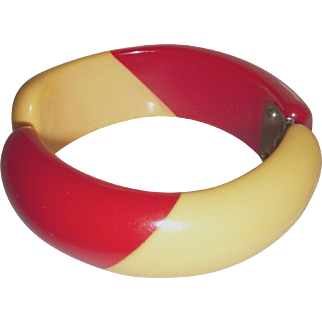 Chunky Two Tone Stripe Bakelite Clamper Bangle Bracelet Red & Cream