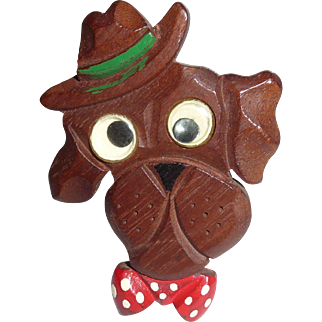 Carved Wooden Googly Eye Dog Polka Dot Tie Bakelite Era Pin Brooch