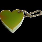 1950s Bakelite Green Heart Pencil Sharpener Key Chain
